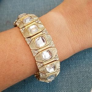 Gold Plated Brilliant Tone Crystal Stretch Bracele